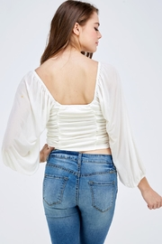 Emory Park White Ruched Top - Back cropped