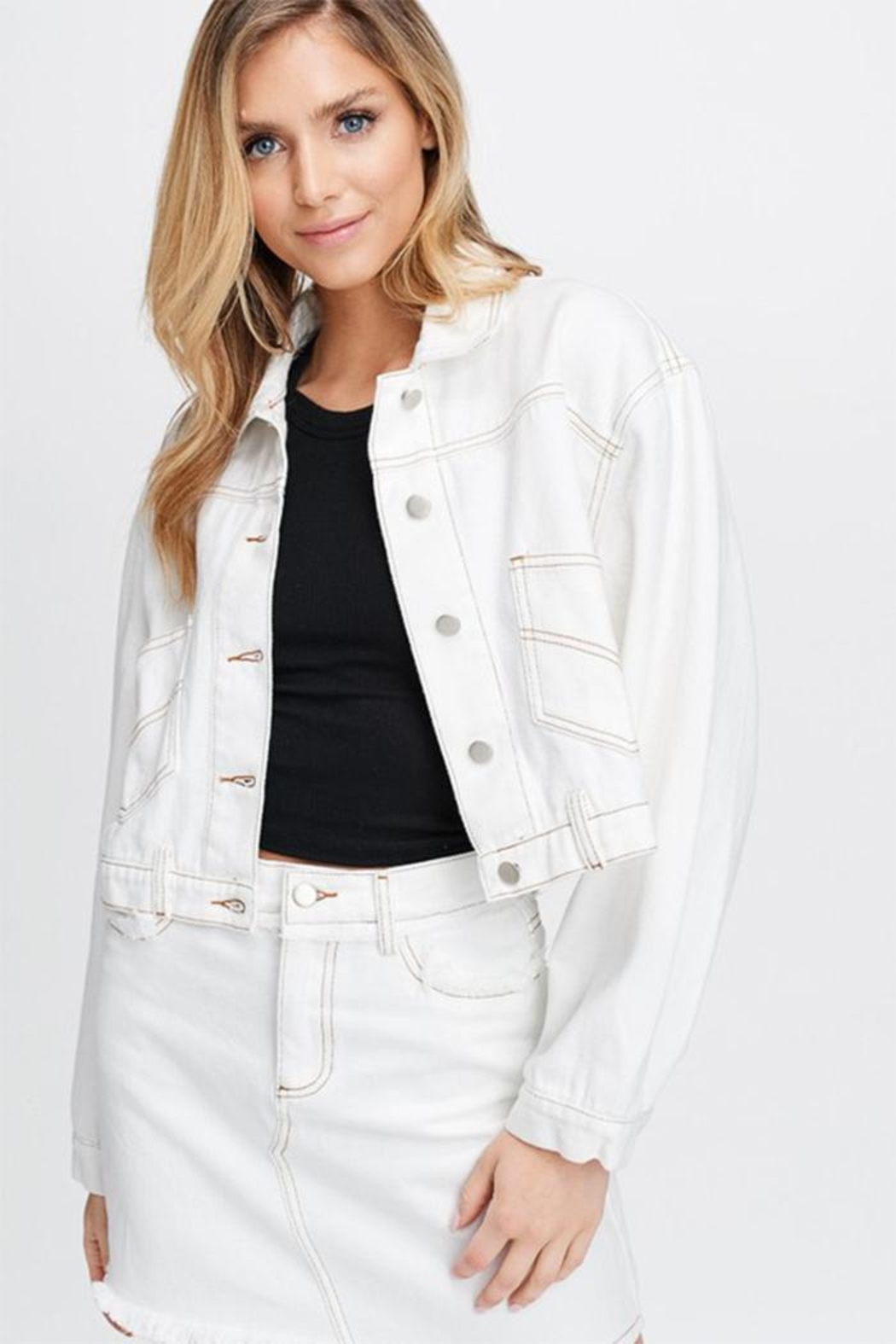 Emory Park White Woven Jacket - Front Cropped Image