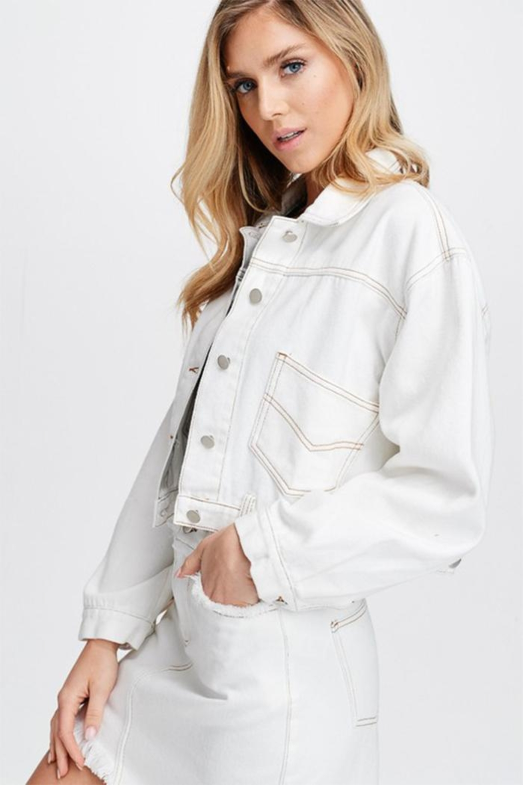 Emory Park White Woven Jacket - Side Cropped Image