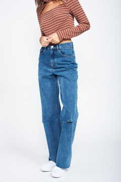 Emory Park Wide Leg Denim Jeans With Ripped Knee - Alternate List Image