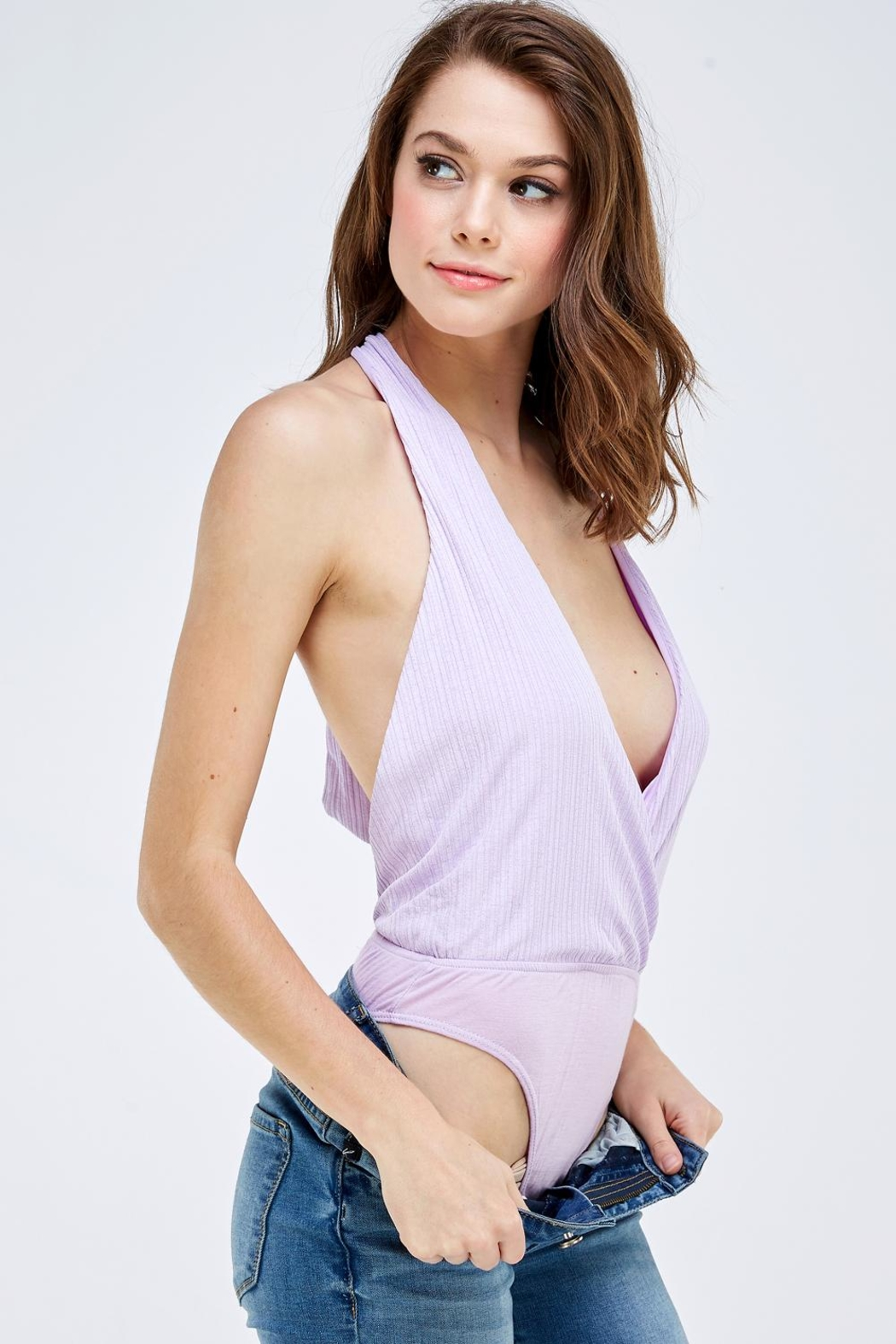 Emory Park Wrapped Front Bodysuit - Back Cropped Image