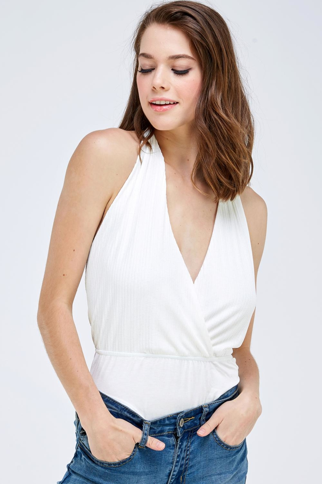 Emory Park Wrapped Front Bodysuit - Front Cropped Image