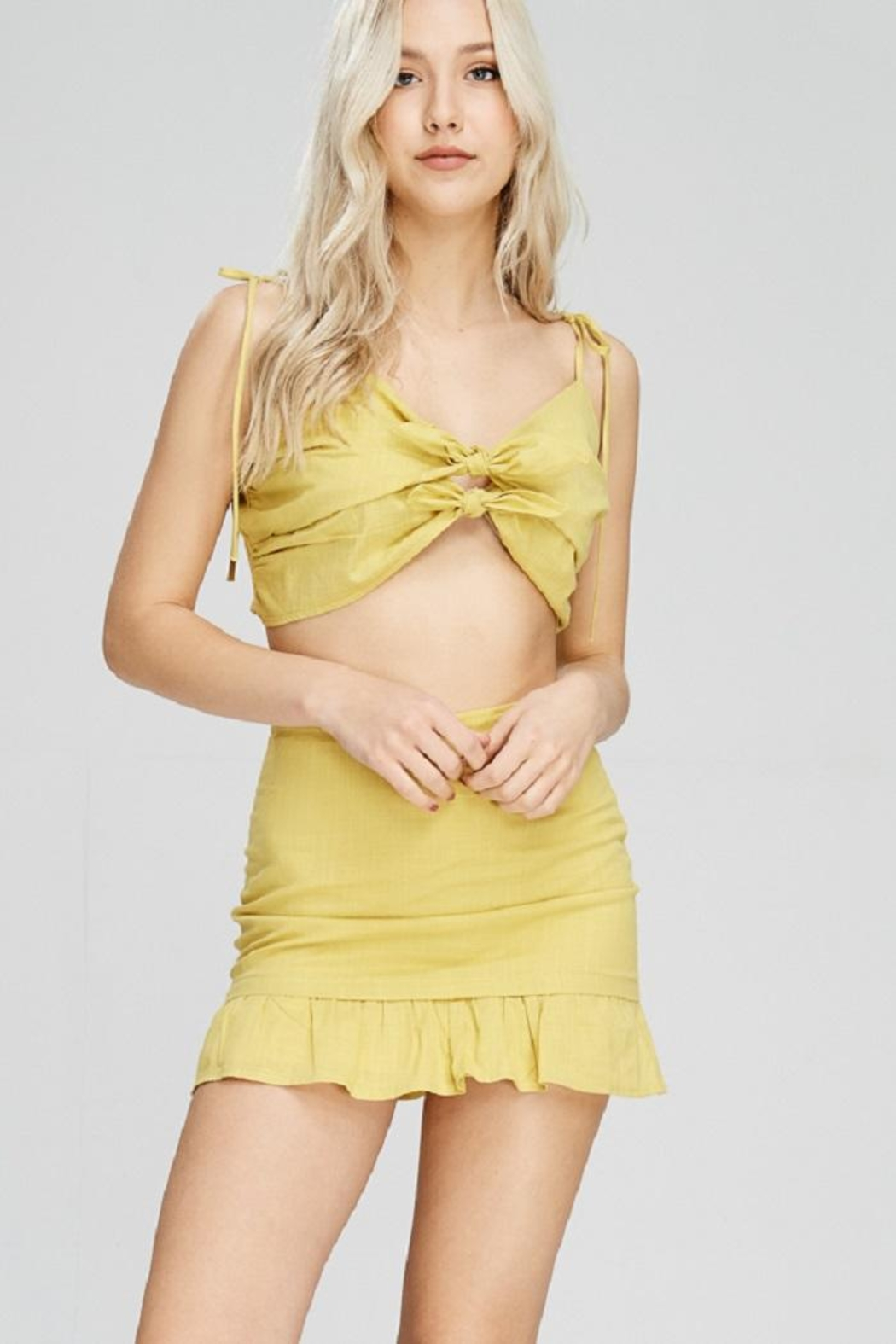Emory Park Yellow Tie Top - Side Cropped Image