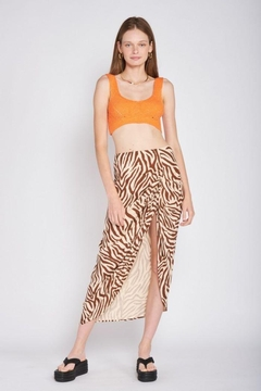 Shoptiques Product: Zebra Print Ruched Skirt With Slit
