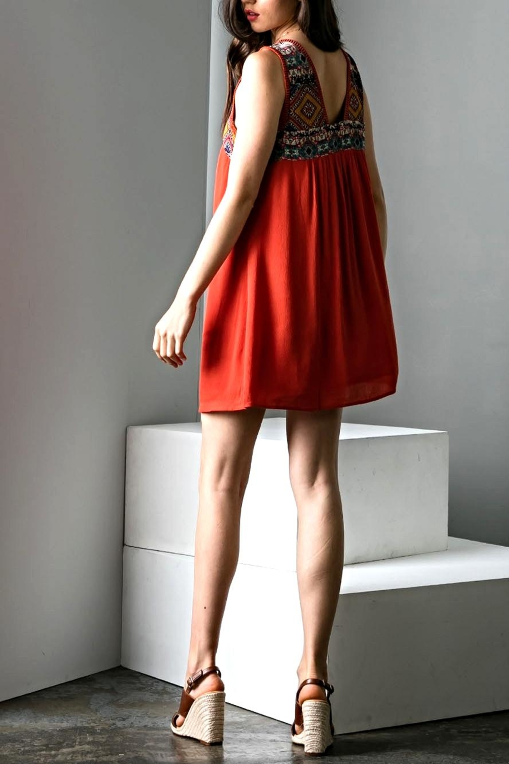 THML Clothing Empire Embroidery Dress - Side Cropped Image