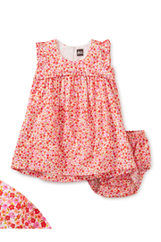Tea Collection  Empire Flutter Baby Dress Set - Wildflowers In Scarlett - Product Mini Image