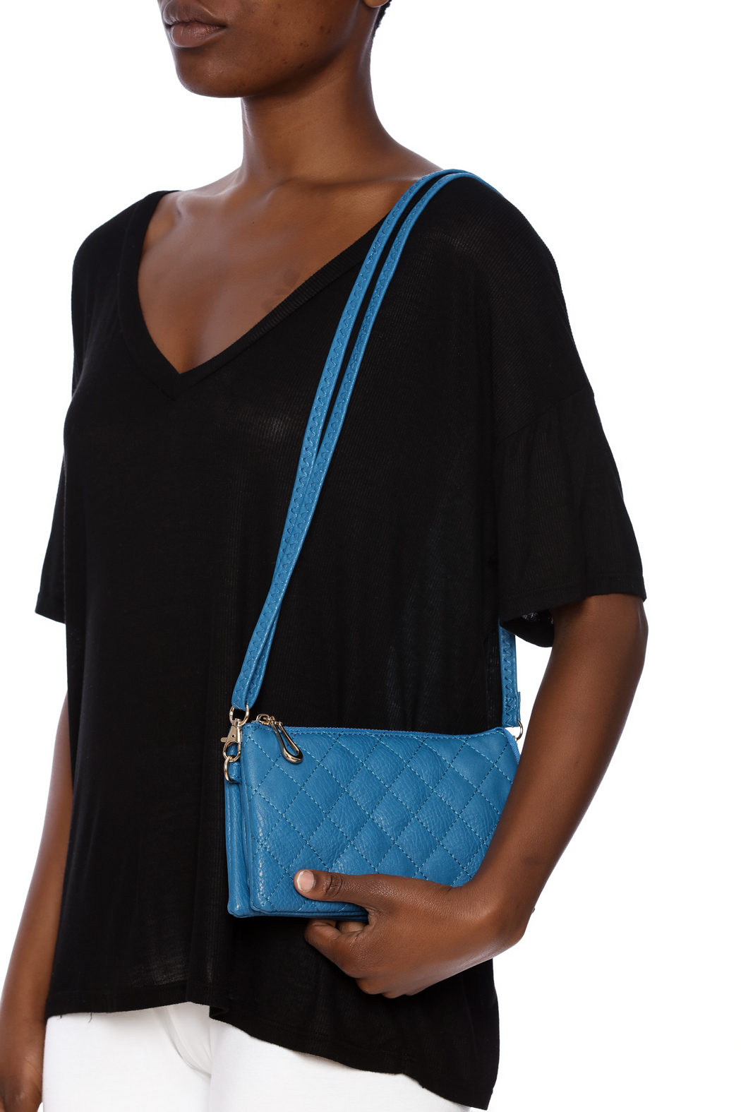 Empire Handbags  Quilted Blue Crossbody - Front Full Image