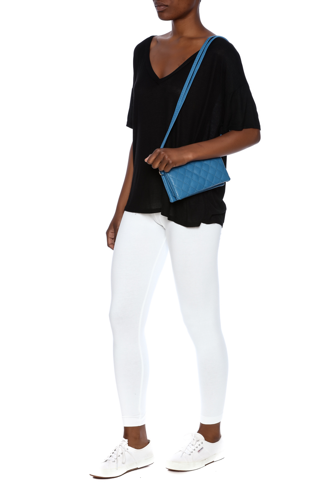 Empire Handbags  Quilted Blue Crossbody - Back Cropped Image