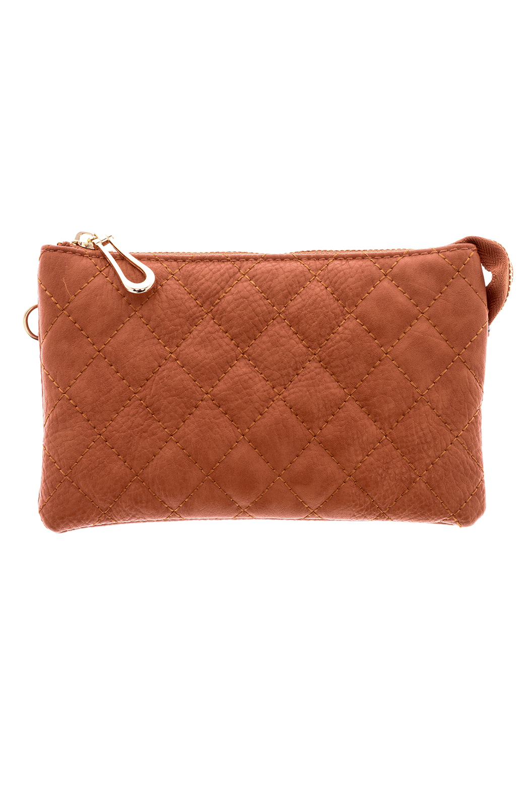 Empire Handbags  Quilted Tan Crossbody - Front Cropped Image