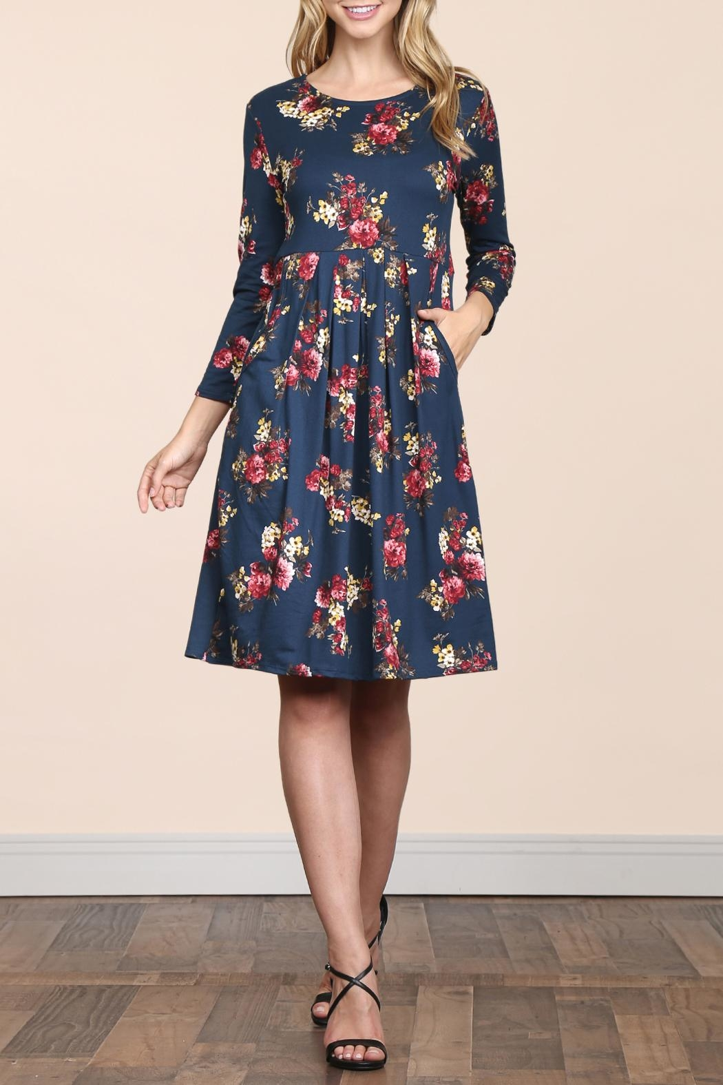 Riah Fashion Empire-Waist-Floral-Pleated Pocket Dress - Front Full Image