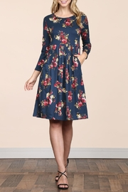 Riah Fashion Empire-Waist-Floral-Pleated Pocket Dress - Front full body