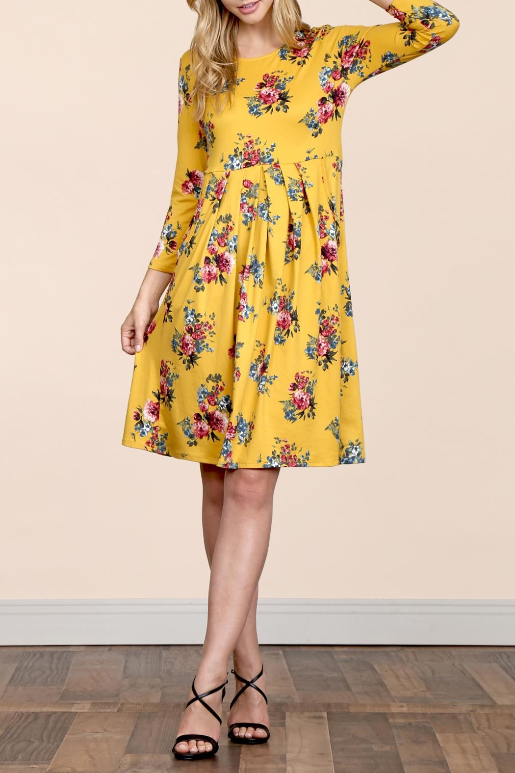 Riah Fashion Empire-Waist-Floral-Pleated Pocket Dress - Side Cropped Image