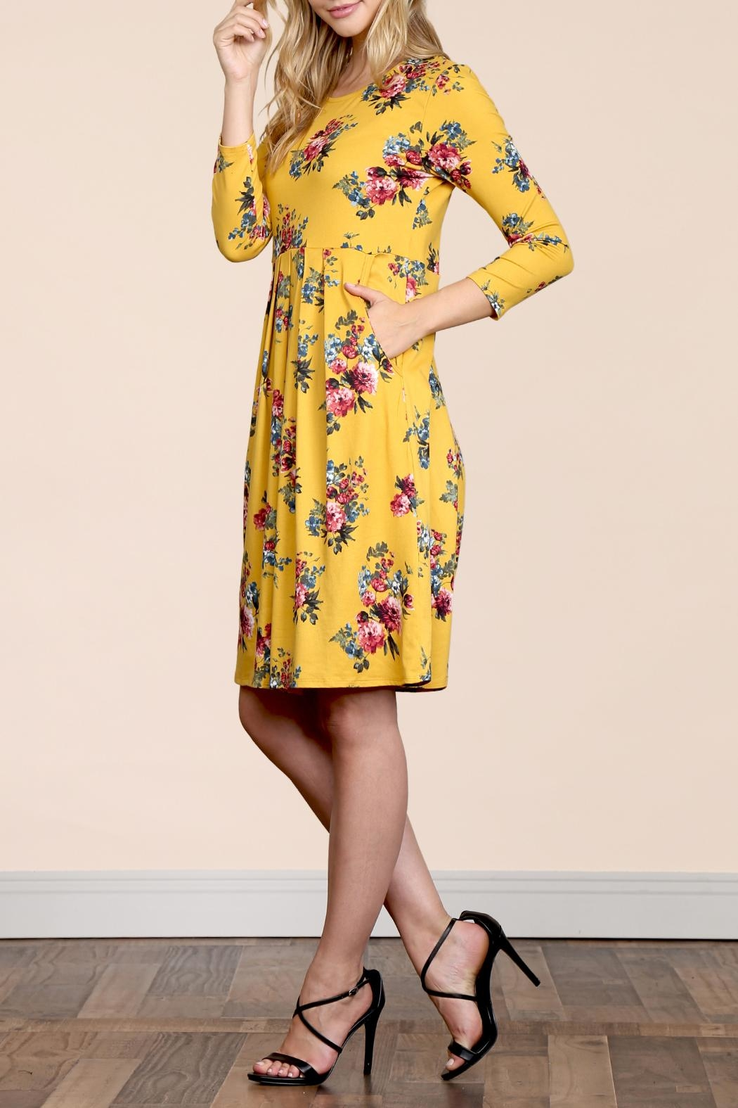 Riah Fashion Empire-Waist-Floral-Pleated Pocket Dress - Back Cropped Image