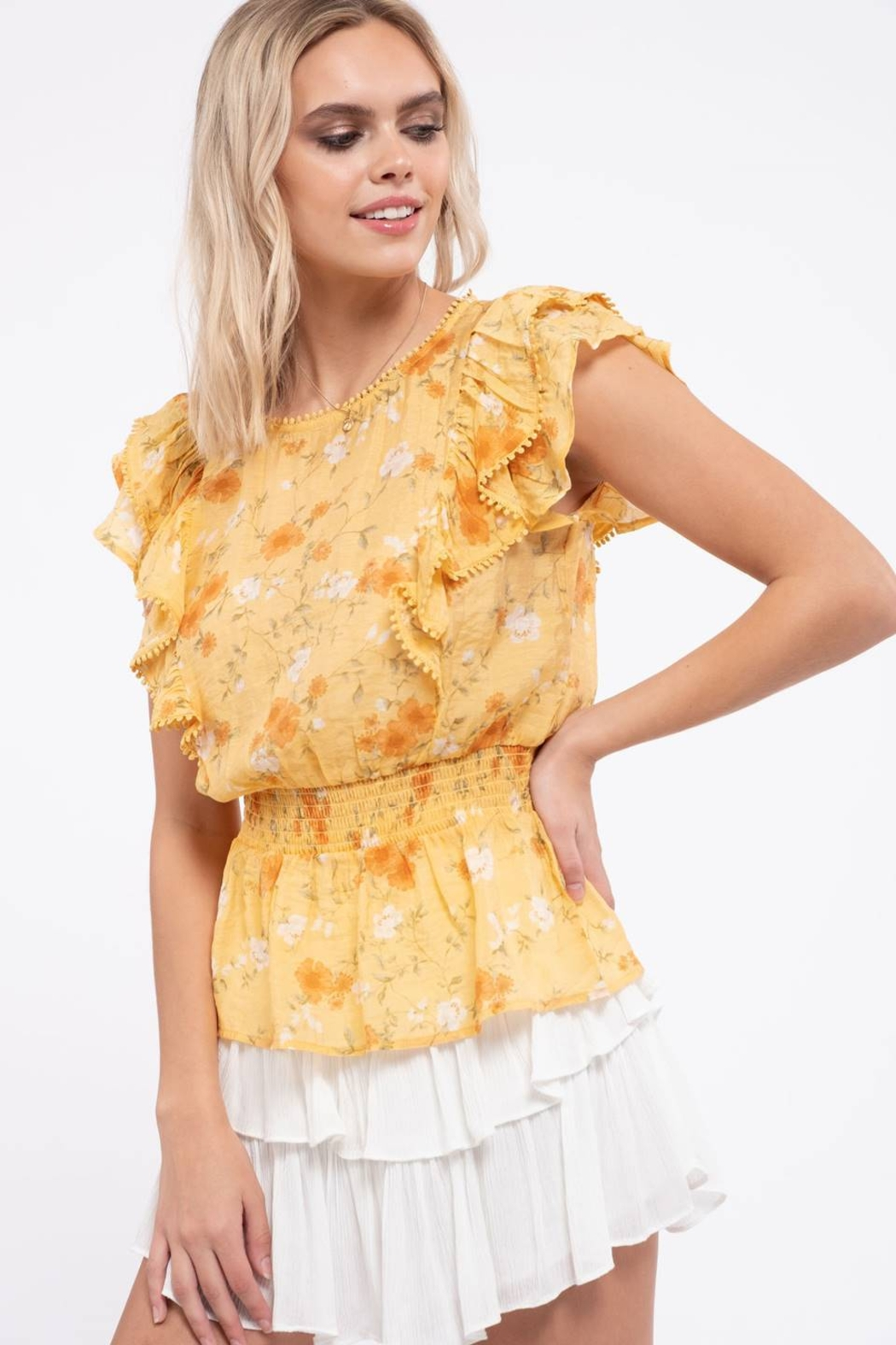 Mine Empire Waist Floral Top - Front Full Image