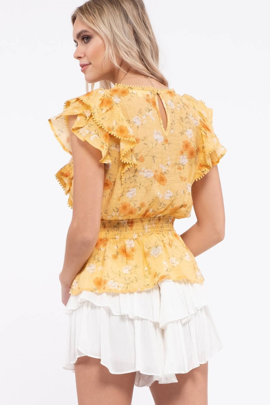 Mine Empire Waist Floral Top - Side Cropped Image