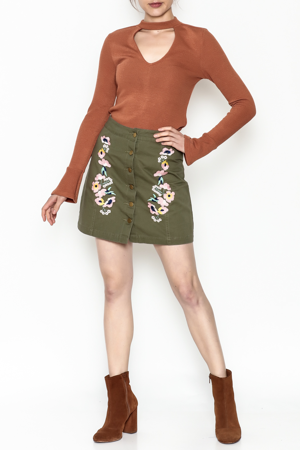 En Creme Floral Mini Skirt - Side Cropped Image