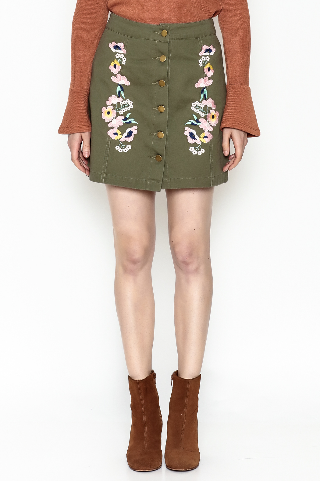 En Creme Floral Mini Skirt - Front Full Image