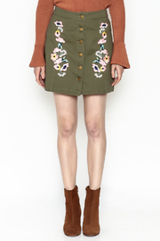 En Creme Floral Mini Skirt - Front full body
