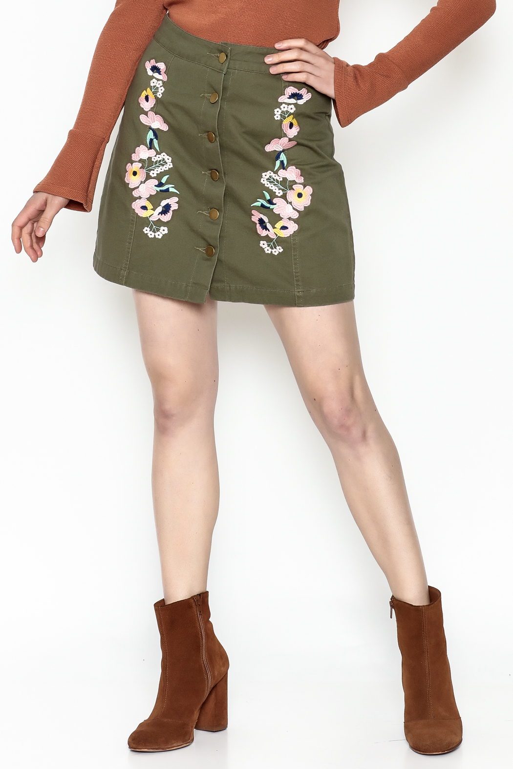 En Creme Floral Mini Skirt - Main Image