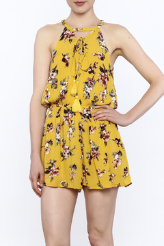 Shoptiques Product: Yellow Floral Sleeveless Romper