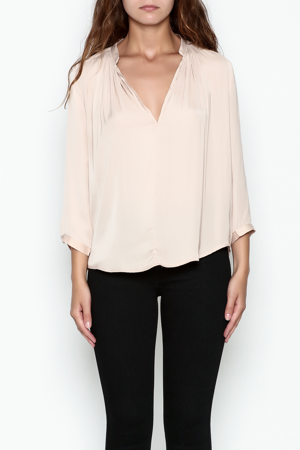 En Creme Three Quarter Sleeve Blouse - Front Full Image