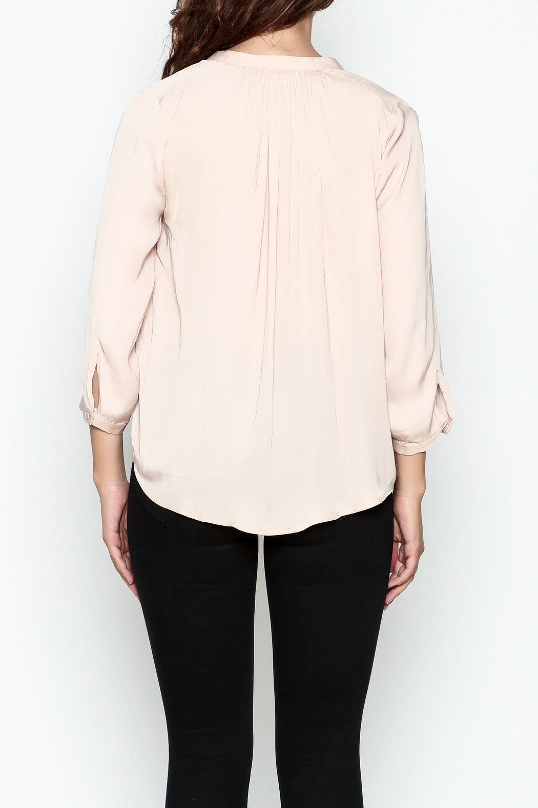 En Creme Three Quarter Sleeve Blouse - Back Cropped Image
