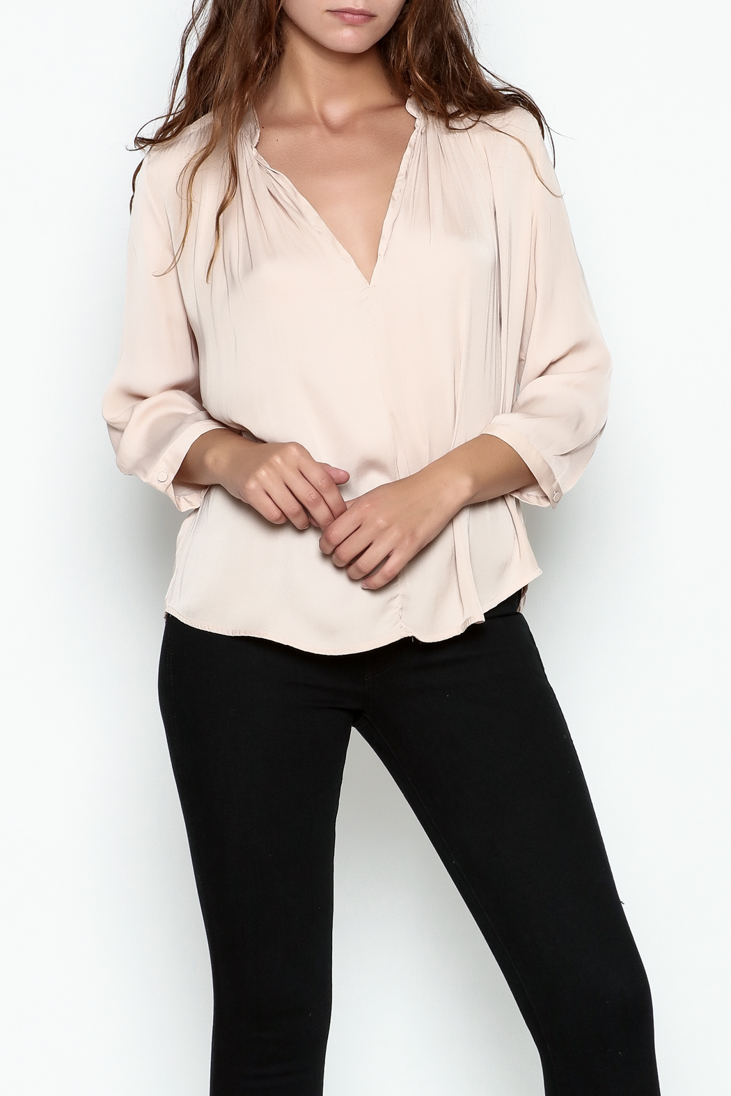 En Creme Three Quarter Sleeve Blouse - Front Cropped Image