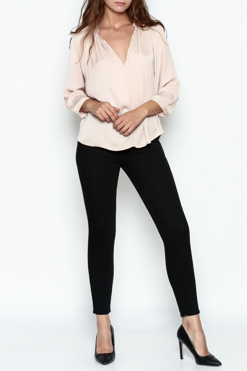 En Creme Three Quarter Sleeve Blouse - Side Cropped Image