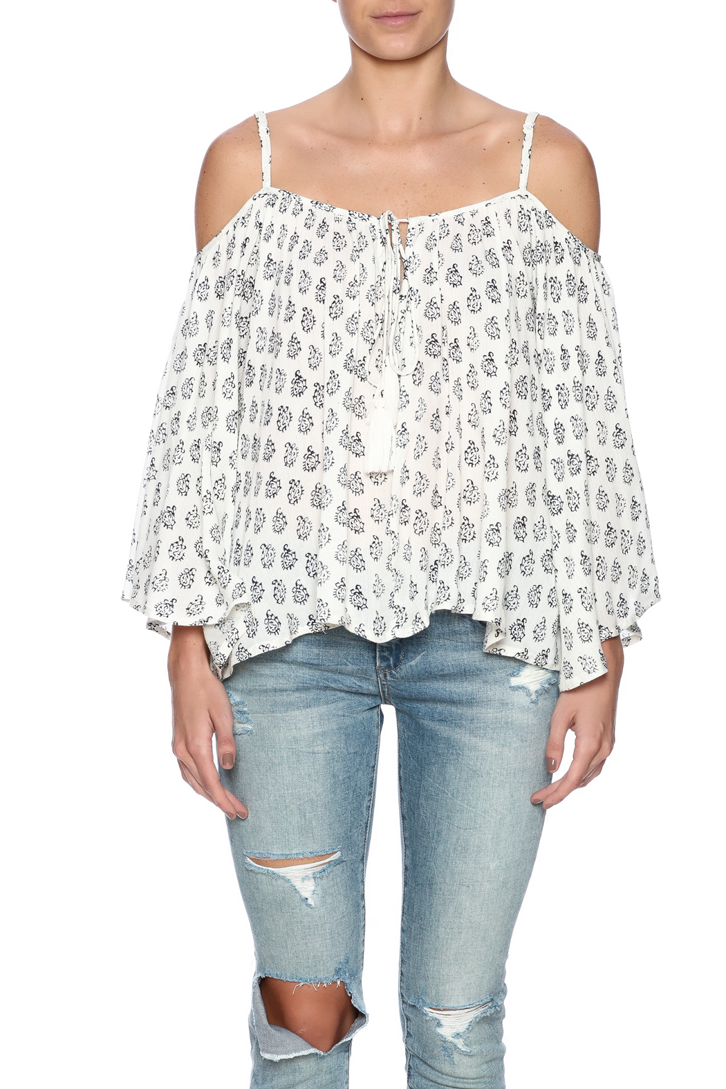 0440d4379a33ab En Creme Paisley Cold Shoulder Top from Brooklyn by BB Collective ...