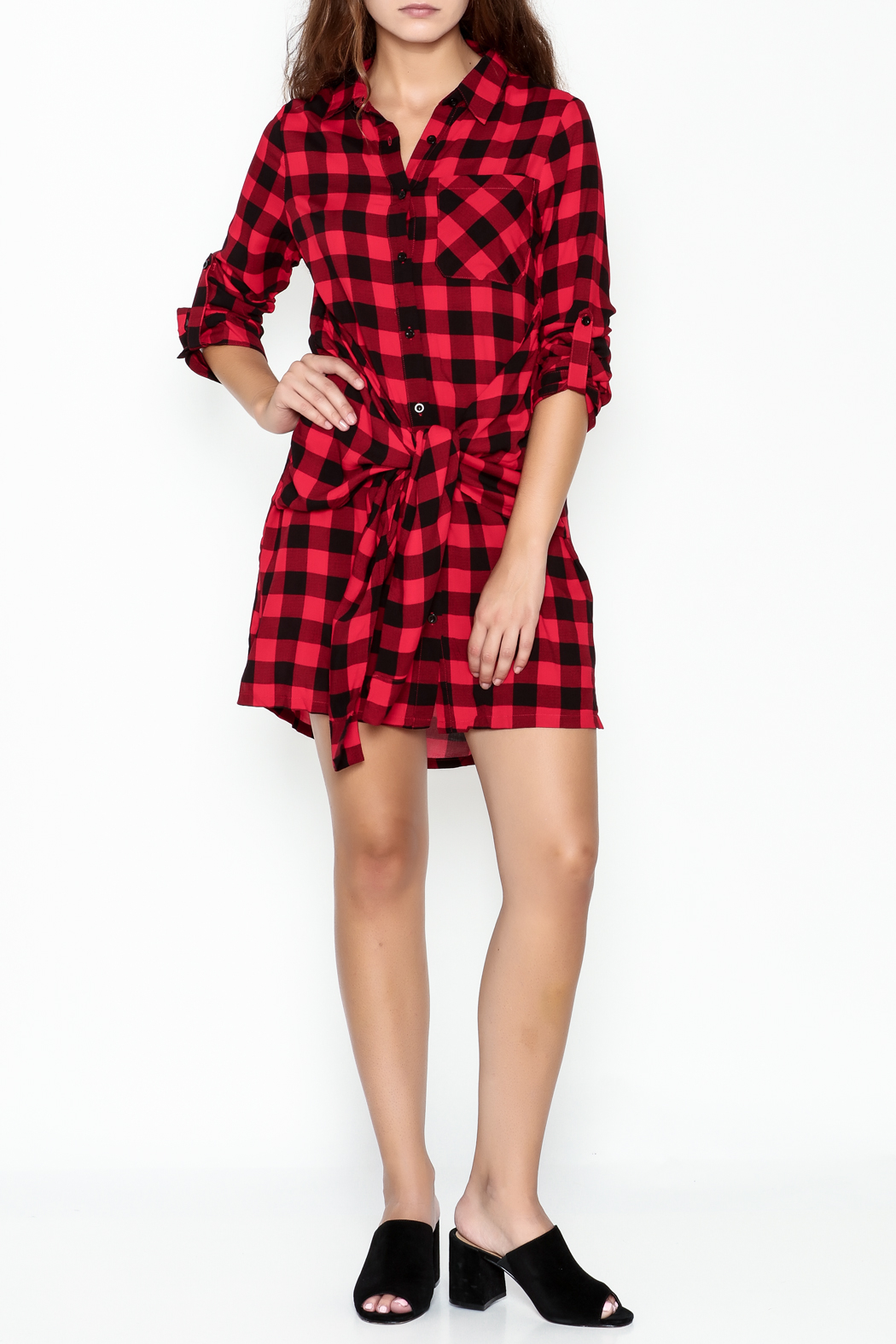 En Creme Plaid Collared Dress - Side Cropped Image