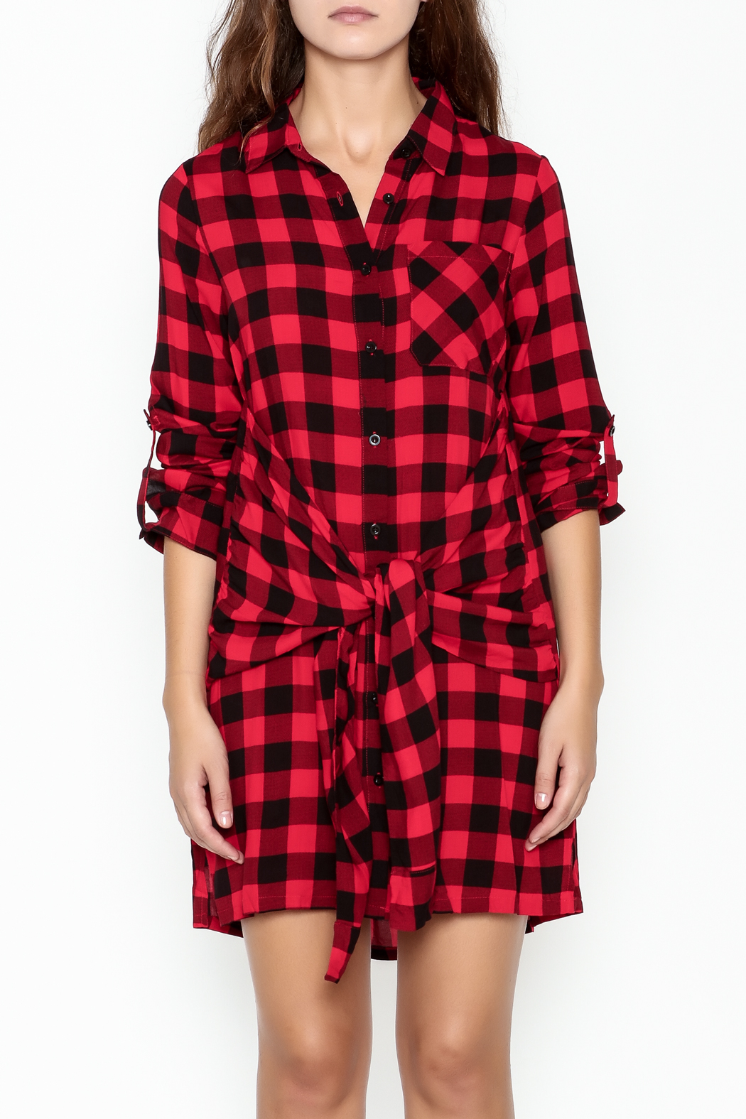 En Creme Plaid Collared Dress - Front Full Image