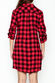 En Creme Plaid Collared Dress - Back cropped