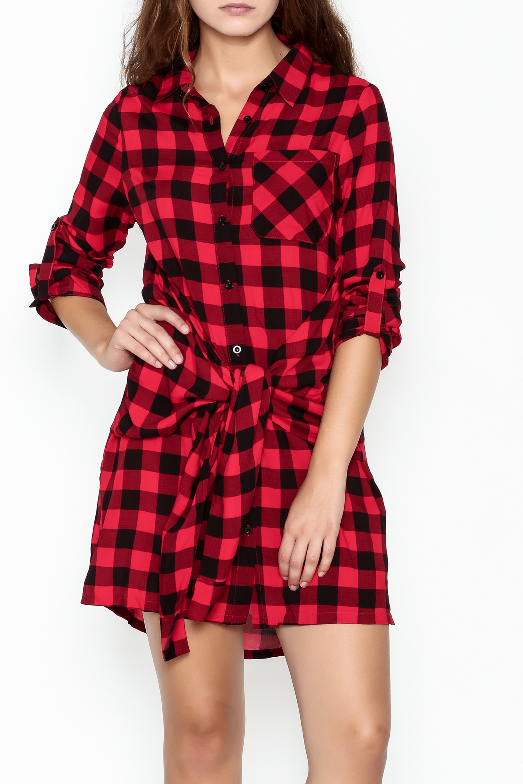 En Creme Plaid Collared Dress - Front Cropped Image