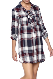 En Creme Plaid Shirt Dress - Product Mini Image