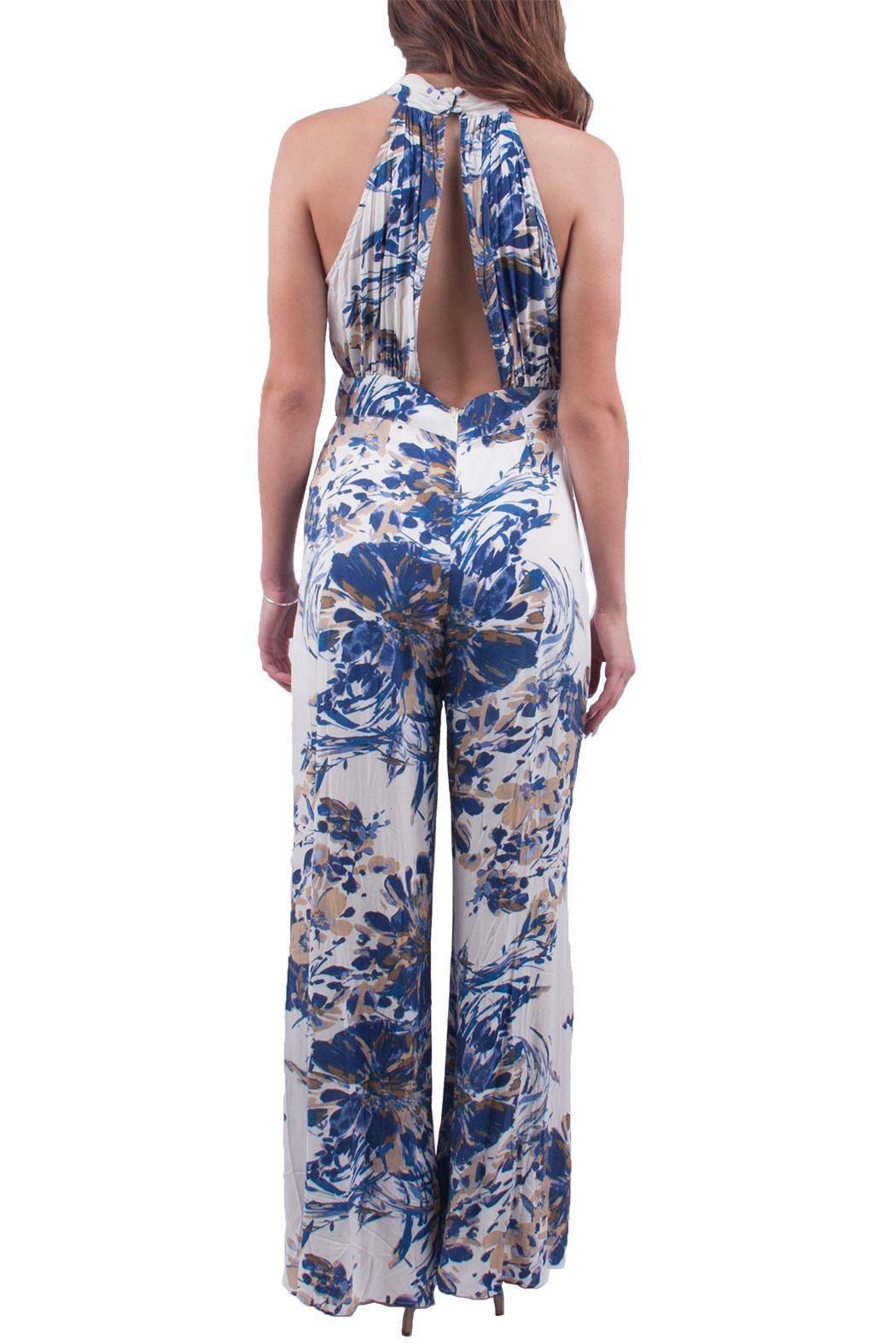 En Creme Blue Floral Jumpsuit - Side Cropped Image