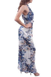 En Creme Blue Floral Jumpsuit - Front full body