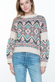 En Creme Boho Print Sweater - Product Mini Image