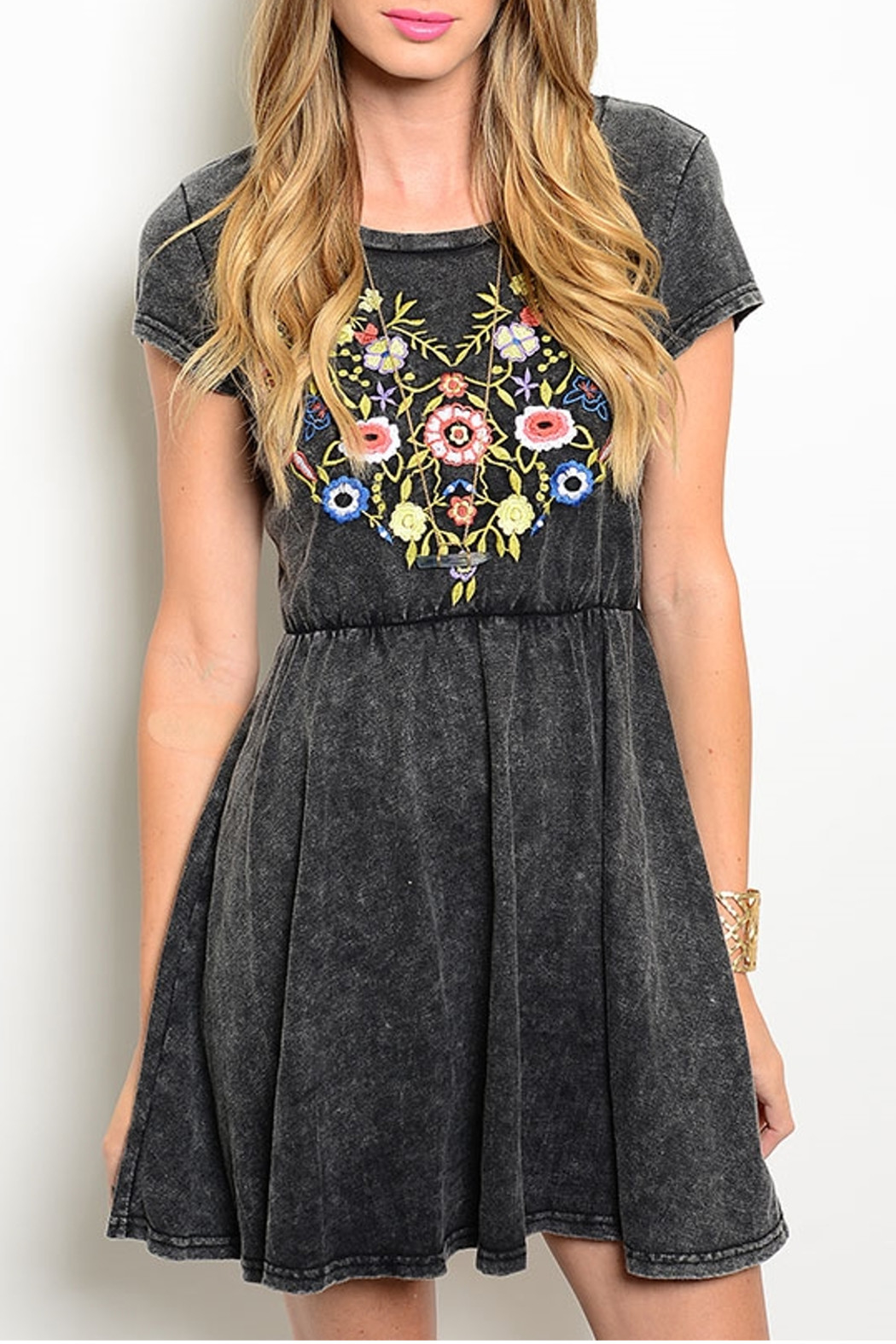 En Creme Charcoal Embroidered Dress - Main Image
