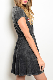 En Creme Charcoal Embroidered Dress - Front full body