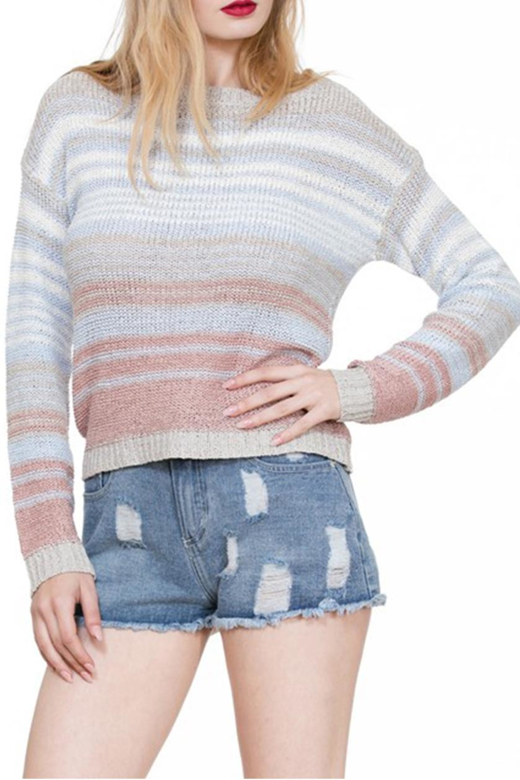 En Creme Colorful Stripe Sweater - Front Full Image