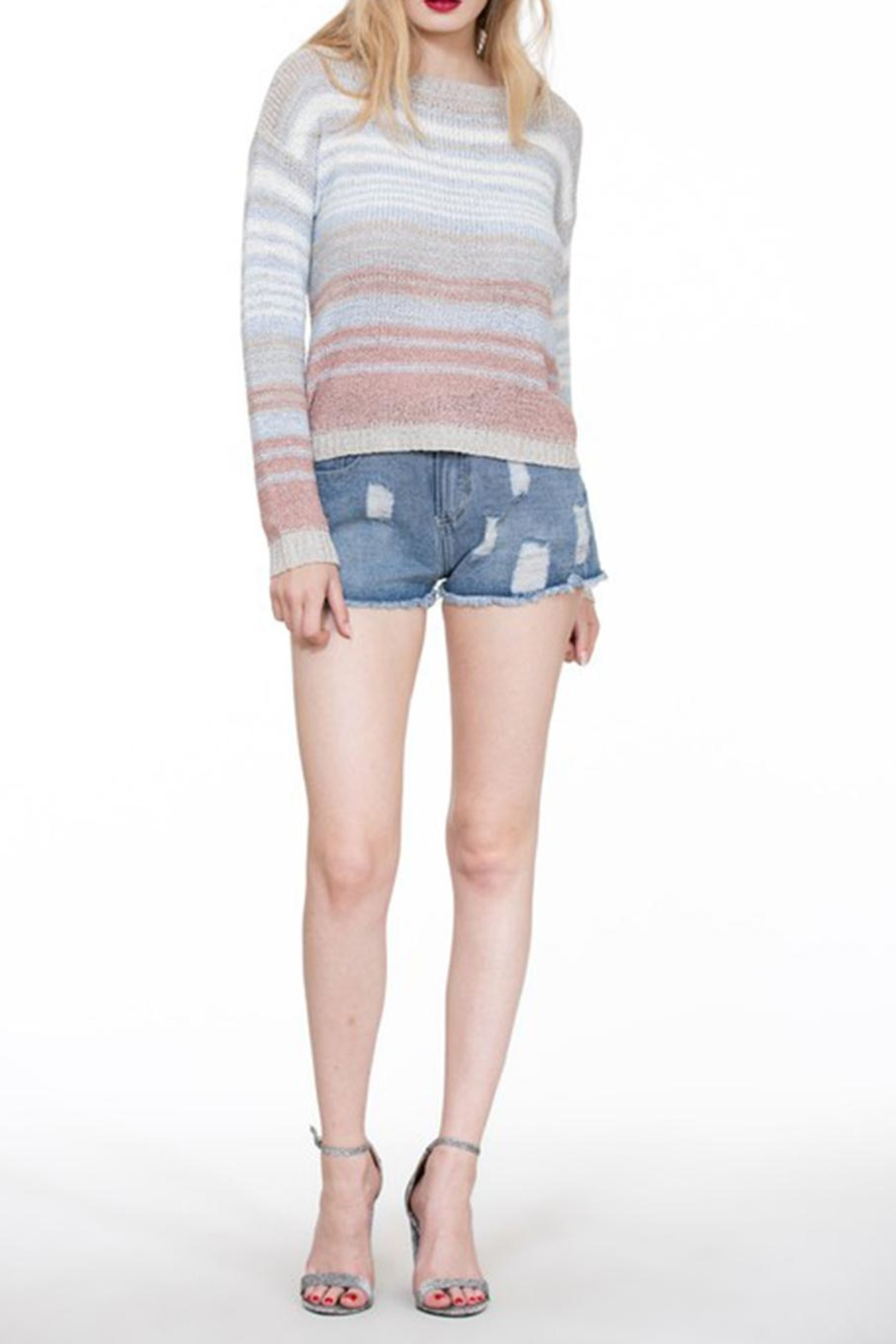 En Creme Colorful Stripe Sweater - Front Cropped Image