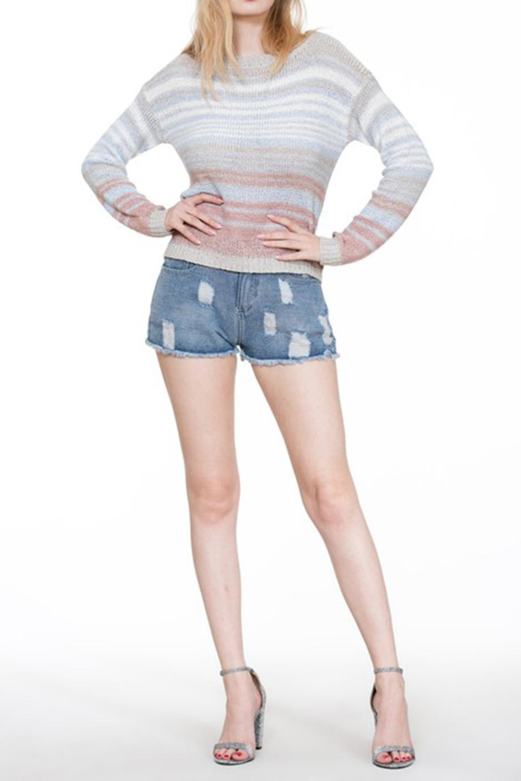 En Creme Colorful Stripe Sweater - Side Cropped Image