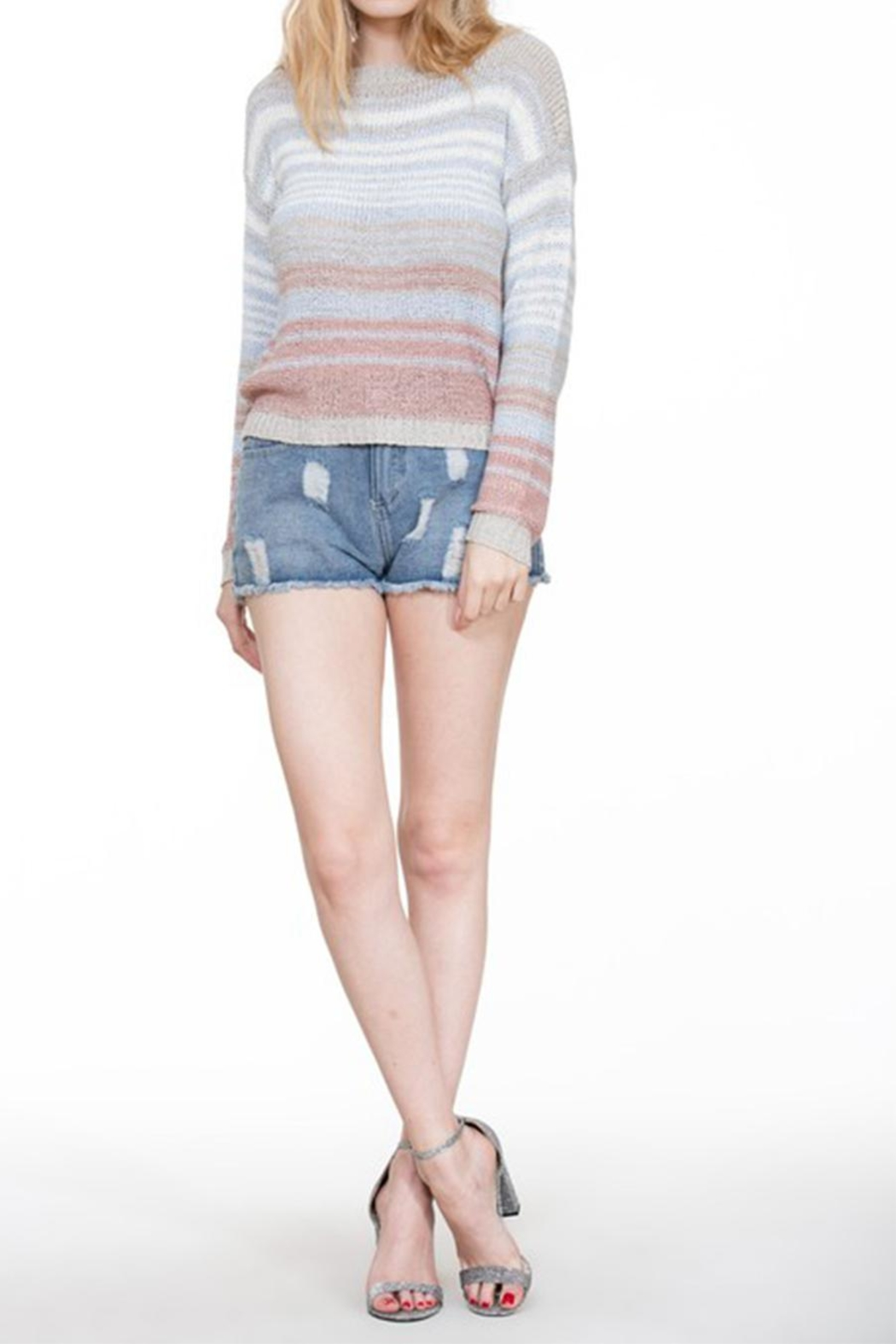 En Creme Colorful Stripe Sweater - Back Cropped Image