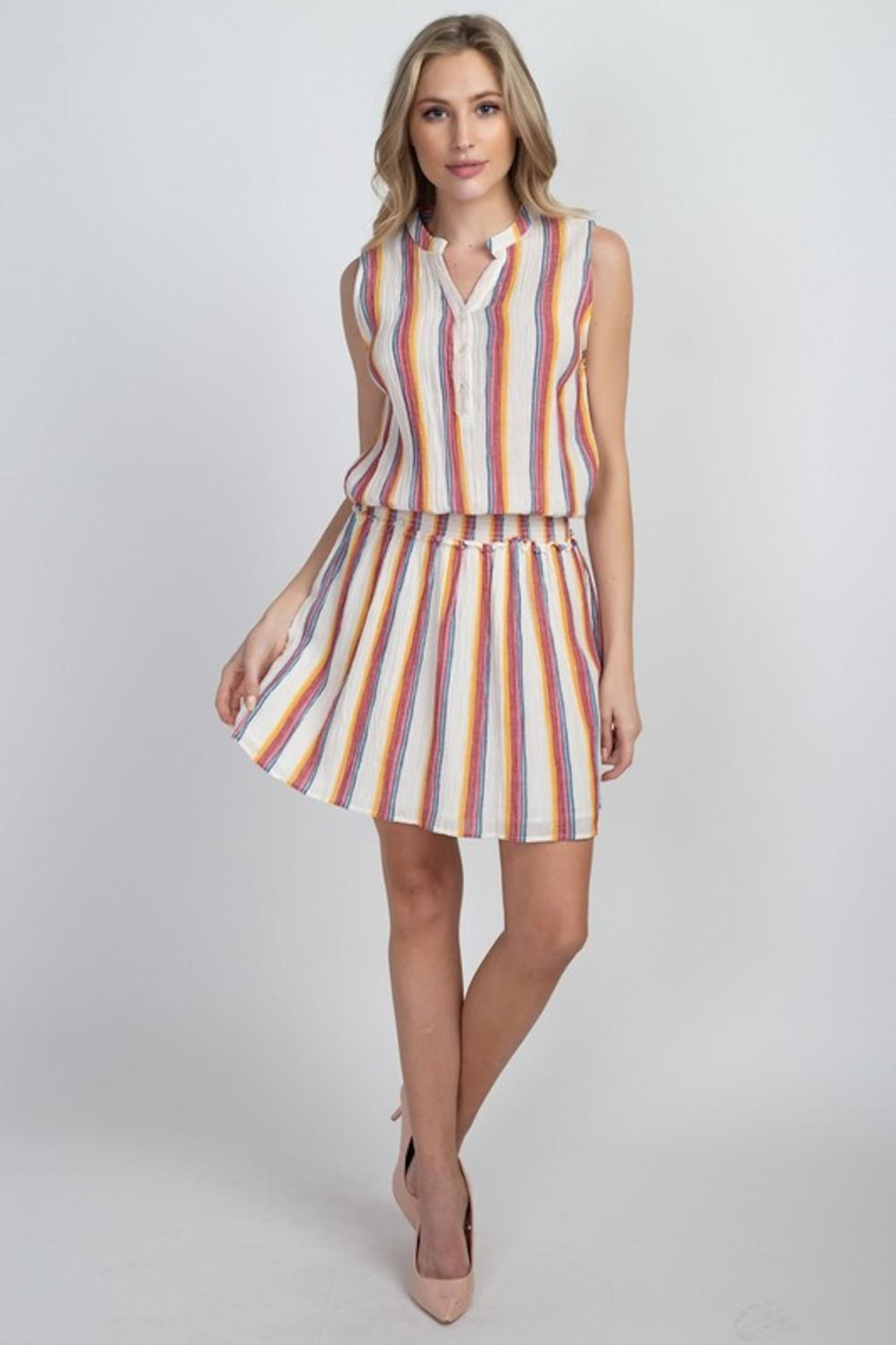 En Creme Colorful Stripes Dress - Back Cropped Image