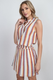 En Creme Colorful Stripes Dress - Front full body