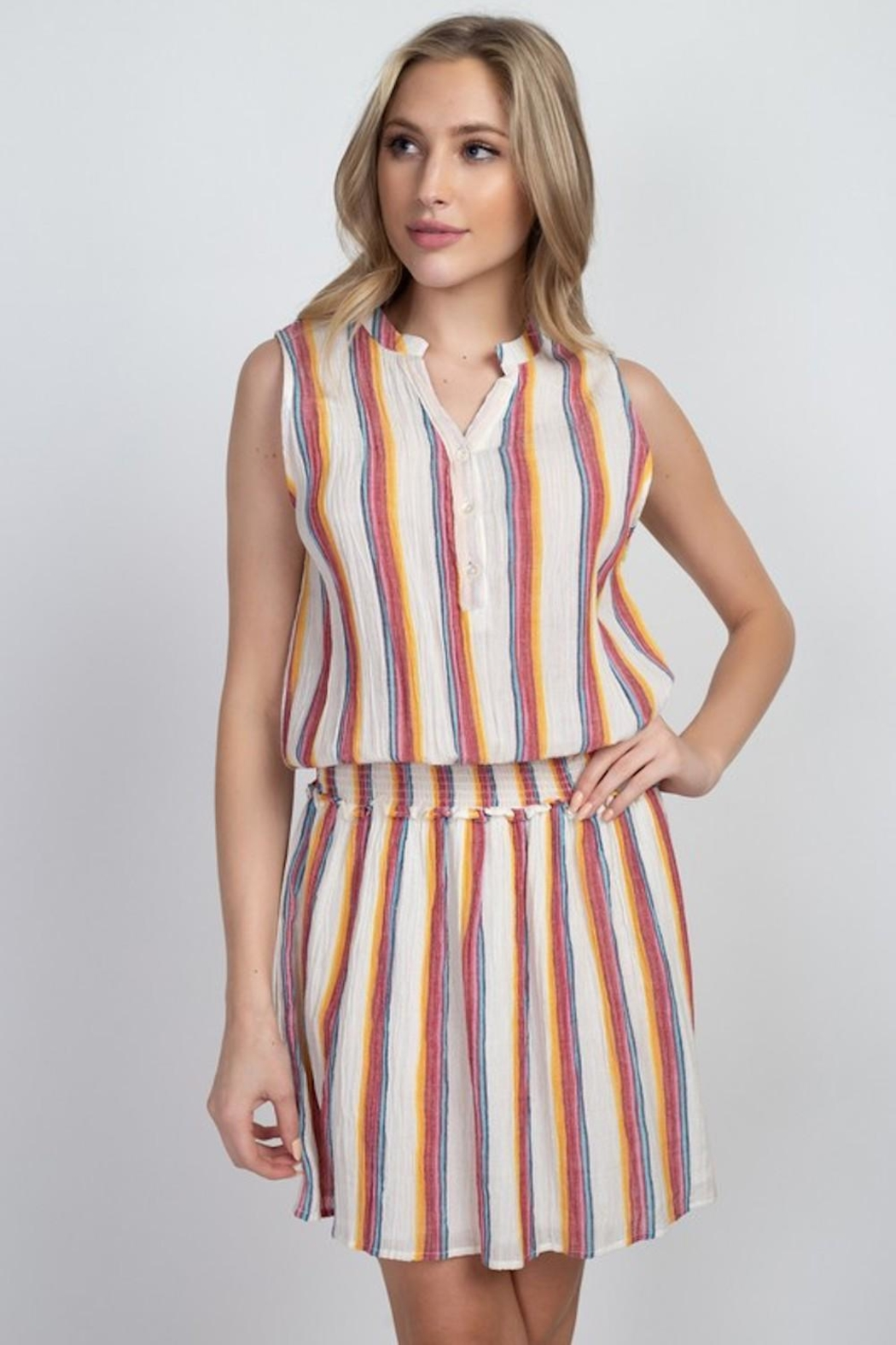 En Creme Colorful Stripes Dress - Front Cropped Image