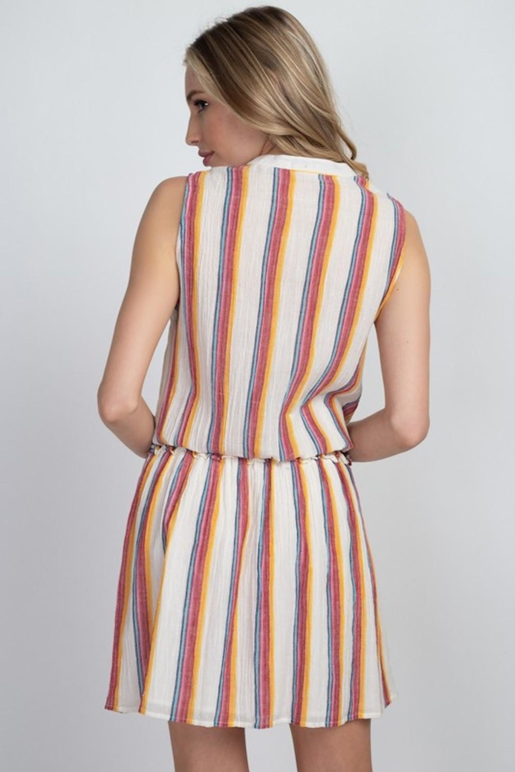 En Creme Colorful Stripes Dress - Side Cropped Image