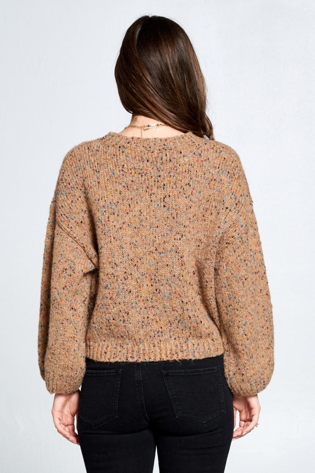 En Creme Confetti Sweater - Back Cropped Image