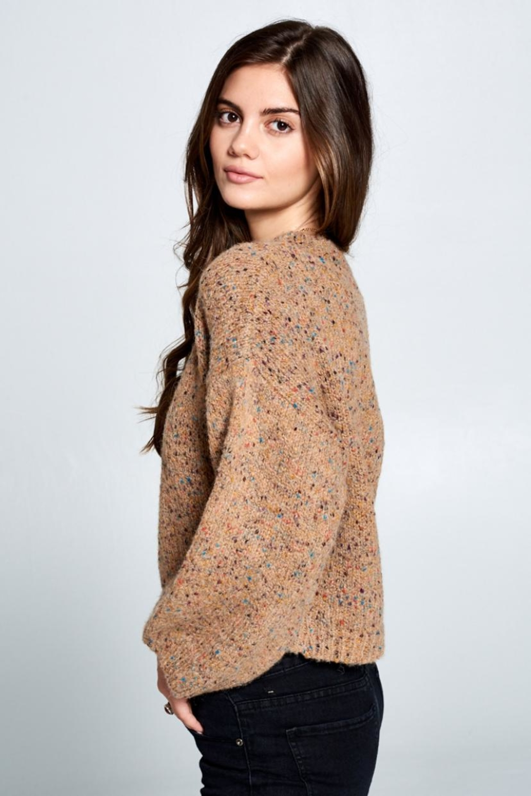 En Creme Confetti Sweater - Side Cropped Image
