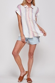 En Creme Corrine Pastel Stripe Button Down Top - Product Mini Image